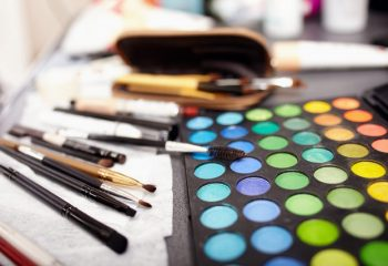 Closeup of a professional makeup kit